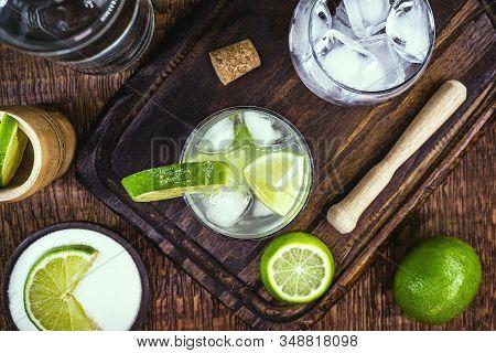 Brazilian Caipirinha, Typical Brazilian Cocktail Made With Lemon And Sugar With Cachaça Or Vodka. Co