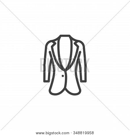 Womens Business Jacket Line Icon. Linear Style Sign For Mobile Concept And Web Design. Female Jacket