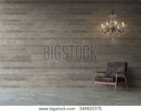Empty Loft Concrete Wall 3d Render,there Are Polished Concrete Floors, Wood Plank Stamped Concrete W