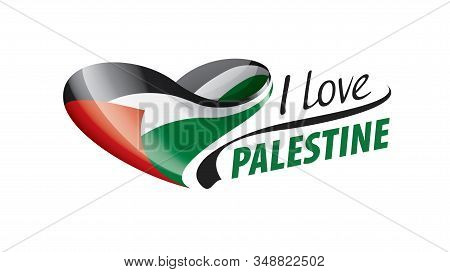 National Flag Of The Palestine In The Shape Of A Heart And The Inscription I Love Palestine. Vector