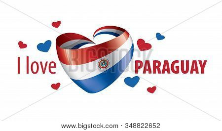 National Flag Of The Paraguay In The Shape Of A Heart And The Inscription I Love Paraguay. Vector Il