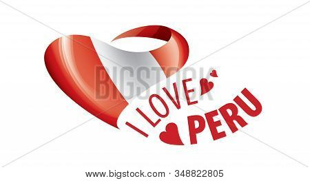 National Flag Of The Peru In The Shape Of A Heart And The Inscription I Love Peru. Vector Illustrati