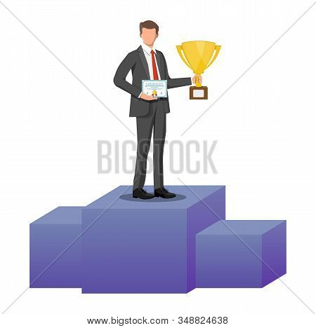 Successful Businessman Holding Trophy And Showing Award Certificate, Celebrates His Victory. Busines