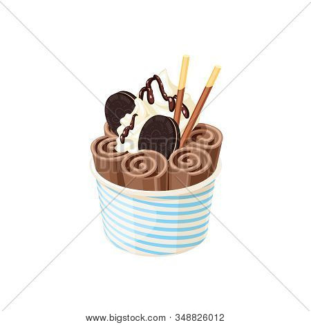 Basket Of Stir Fried Chocolate Ice Cream Rolls Under Chocolate Topping And Whipped Cream Decorated W