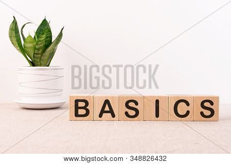 Basics Word On A Wooden Blocks On A Light Background