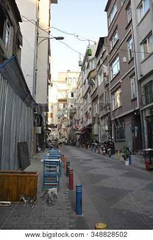 Istanbul, Turkey - September 18th 2019. A Backstreet In A Mainly Residential Street In The Moda Dist