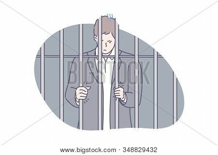 Jail, Prisoner, Fraud Concept. Young Unhappy Man Was Sentenced To Jail For Fraud. Sad Prisoner Deman