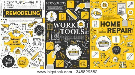 House Remodeling And Construction Repair Work Tools, Home Renovation Service Posters. Vector Handyma