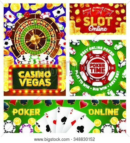 Casino Poker Gamble Game, Wheel Of Fortune Roulette And Slot Machine Jackpot Big Win. Vector Online