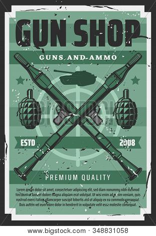 Military Guns And Wartime Artillery Shotguns Equipment Shop Retro Poster. Vector Personal Defense An
