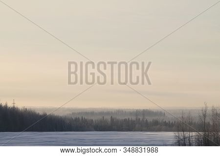 Winter Nature Landscape With Snowy Field And Trails, Forest And Cloudy Gray Sky On Background. Stock