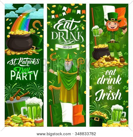 Eat, Drink And Be Irish Motto On Saint Patricks Day. Vector Golden Treasures And Bagpipe, Holy St. P