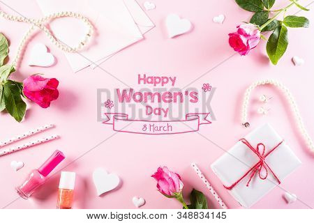 International Women's Day Concept. Woman Lace Lingerie Jewelry Perfume Present With Pink Roses On Br
