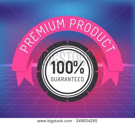 Premium Product Guaranteed Round Stamp Label With Digital Net Vector. Shopping Tag Illustration With