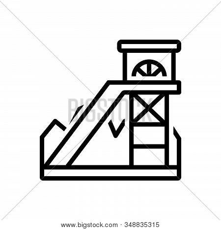 Black Line Icon For Coal-mining Equipment Excavator Coal Underground Fuel Mineral Rock Business Foss