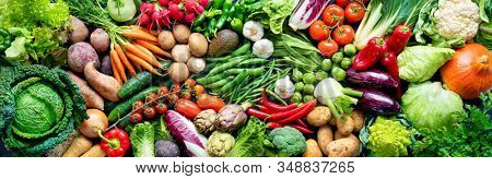 Panoramic food background with assortment of fresh organic vegetables