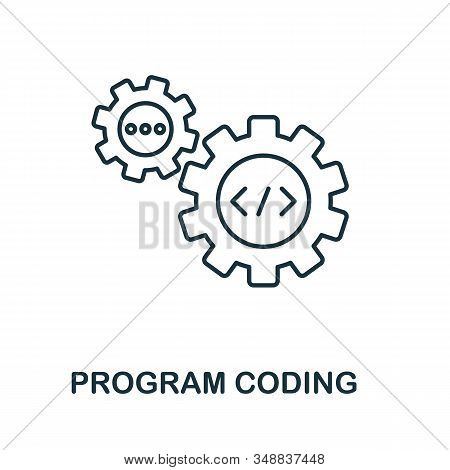 Program Coding Line Icon. Thin Design Style From Programmer Icon Collection. Simple Program Coding I