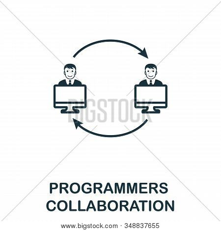 Programmers Collaboration Line Icon. Thin Design Style From Programmer Icon Collection. Simple Progr