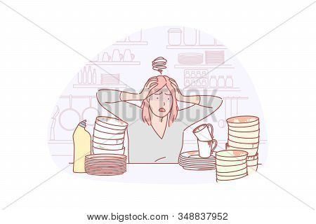 Housewife, Dishwashing, Work Load Concept. Young Stressful Woman Housewife Is Shocked By Many Dirty