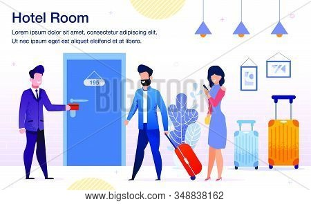 Hotel Room Booking, Modern Hotel Services Trendy Flat Vector Advertising Banner, Promo Poster Templa