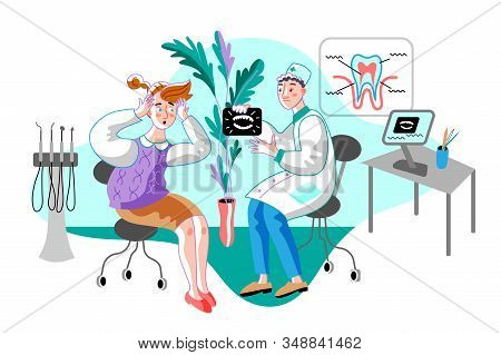 Woman In Orthodontist Office Flat Illustration. Dentist Showing Patient Teeth X-ray. Doctor Cartoon