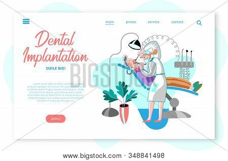 Dental Implantation Webpage Template. Patient And Doctor In Dentistry Office Cartoon Characters. Sto