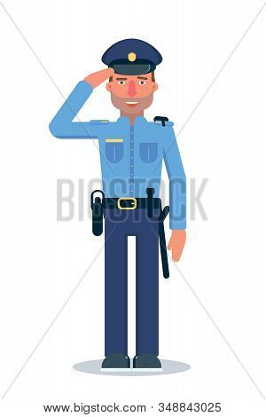 Police Officer Flat Vector Character. Young Male Cop In Professional Uniform On White Background. Po
