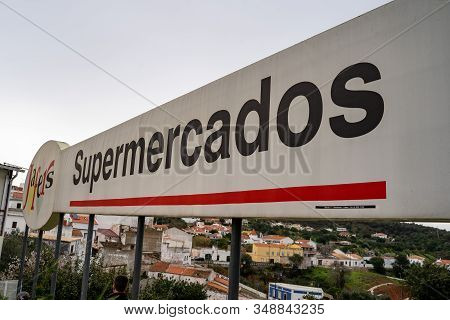 Alte, Portugal - January 24, 2020: Sign For The Jafers Supermercados (supermarket) In The Small Vill
