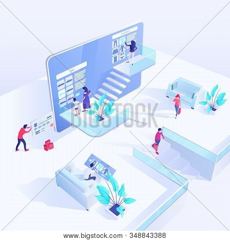 Shopping Isometric Vector Illustration. Online Shopping, Ecommerce, 3d Concept. Clients Choosing Clo