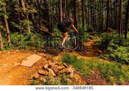 Mountain biking woman cycling in spring mountains forest landscape. Woman cycling MTB flow trail track. Outdoor sport activity.