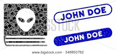Mosaic Alien Catalog And Rubber Stamp Seals With John Doe Caption. Mosaic Vector Alien Catalog Is De
