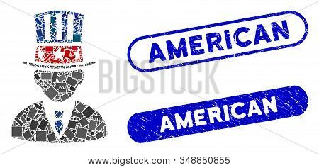 Mosaic American Capitalist And Corroded Stamp Seals With American Caption. Mosaic Vector American Ca