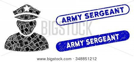 Mosaic Army Sergeant And Rubber Stamp Seals With Army Sergeant Phrase. Mosaic Vector Army Sergeant I