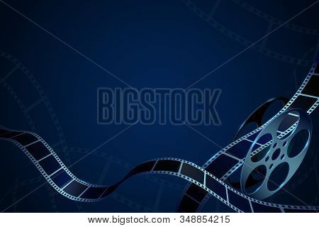 Film Reel With Film Strips In Waveform. Modern Cinema Background. Design Template Can Be Used For Ad