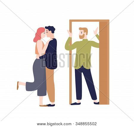 Surprised Husband Coming Home Looking To Wife Kissing With Another Man Vector Flat Illustration. Adu