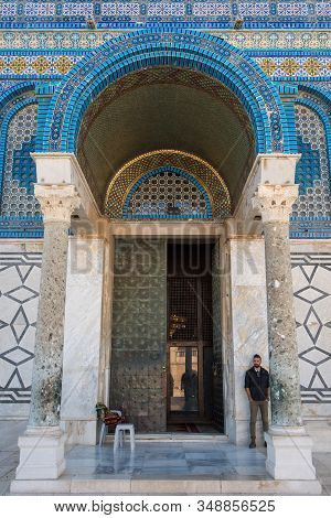 Jerusalem, Israel - May 16, 2018: Guardian Monitoring The Entrance In The Dome Of The Rock Islamic S