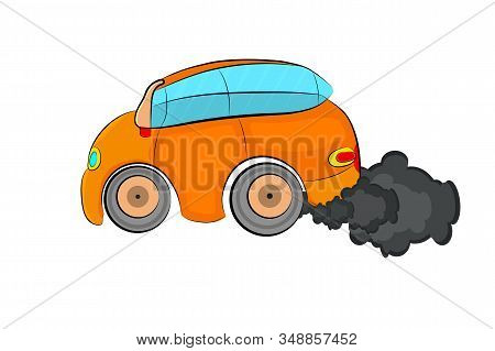 Car And Smoke Isolated On White Background. Car Air Pollution. Car Producing A Cloud Of Air Pollutio