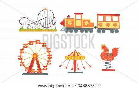 Amusement Park Attractions Collection, Funfair, Carnival, Circus Design Elements With Carousels, Rol