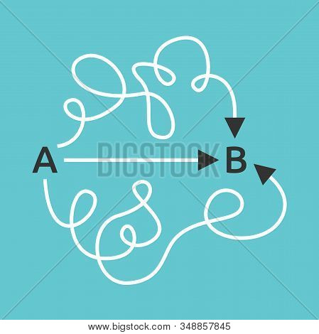 Simple Short Straight And Complicated Long Curved Paths From A To B. Easy And Difficult Ways, Simpli