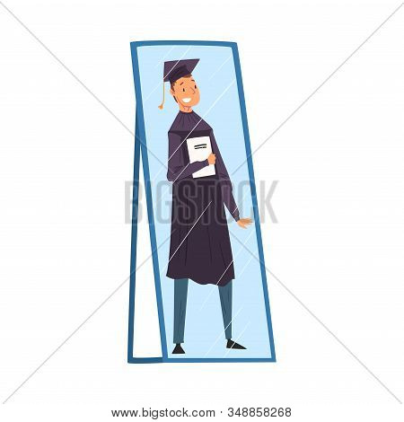 Reflection Of Happy Male Graduation Student In Gown And Cap With Diploma In His Hands In The Mirror,
