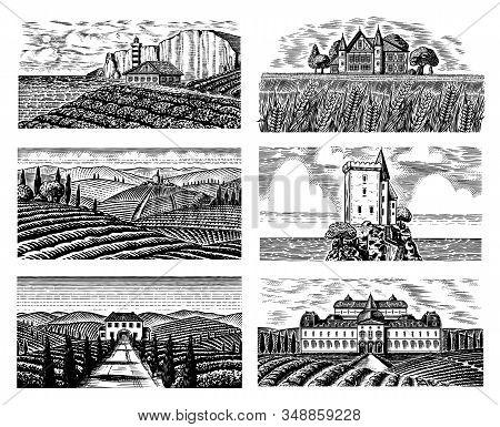 Vineyards Set For Bottle Labels. Vine Plantation. Scenic View Of French Engraved Landscape. Mountain