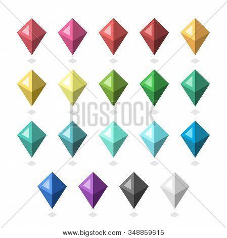 Isometric Multicolor Gems, Jewels Set. Ruby, Garnet, Topaz, Citrine, Peridot, Emerald, Aquamarine, S