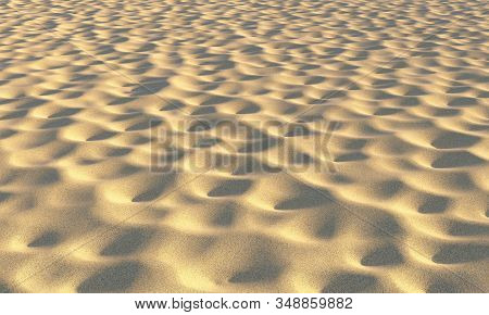 Brown Dry Sand On The Beach With Fossas Under Summer Bright Evening Sun Light Closeup Perspective Vi