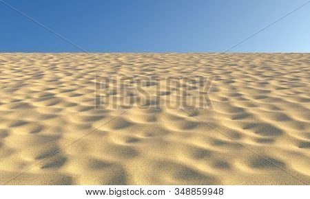 Dry Sand With Bumps And Fossas Under Summer Bright Sunlight And Clear Blue Sky Nature Landscape Back