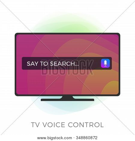 Smart Tv With Voice Remote Control, Flat Vector Icon. Voice Assistance System Concept, Speech Recogn