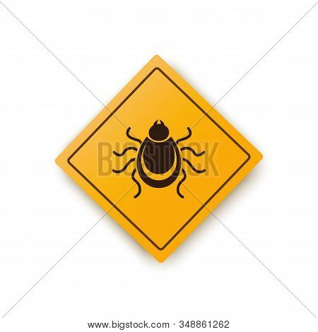 Ticks Warning Mite Bug Icon. Encephalitis Parasite Icon. Vector Of Tick Warning Sign