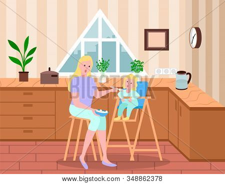 Mother Feeding Her Daughter From Spoon. Kid Sitting On Highchair And Eating Cereal. Parent Care Abou
