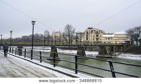 Uzhhorod, Ukraine -january 31, 2020: Streets And Architecture Of The Old City Of Uzhgorod In Ukraine