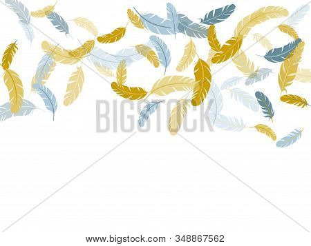 Sophisticated Silver Gold Feathers Vector Background. Bird Wing Plumage Boho Line Art. Soft Plumelet