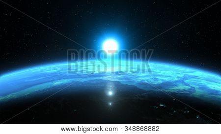 Beautiful Blue Sunrise Over Planet Earth, 3d Illustration